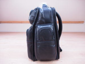 Tumi Alpha 2 backpack leather angle