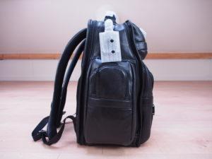 Tumi Alpha 2 backpack leather angle