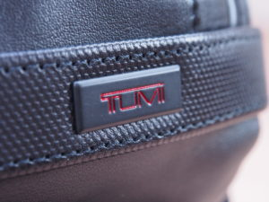 Tumi Alpha 2 backpack leather logo