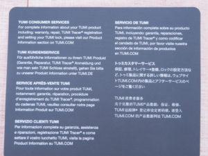 Tumi info card