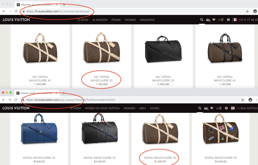 Louis Vuitton Price difference