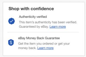 eBay Authenticity verified